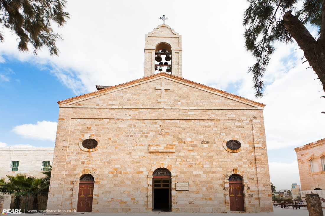 Greek Orthodox Basilica of Saint George in town Madaba, Jordan
